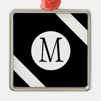 Modern, Simple & Stylish Black and White Monogram Metal Ornament