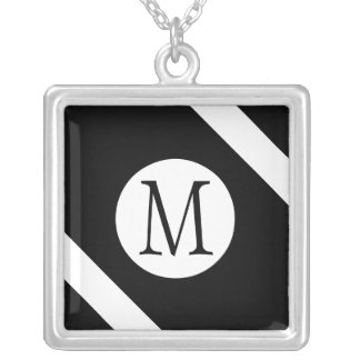 Modern, Simple & Stylish Black and White Monogram Silver Plated Necklace