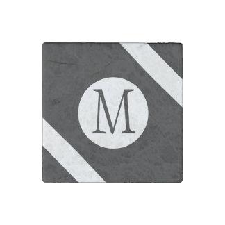 Modern, Simple & Stylish Black and White Monogram Stone Magnet