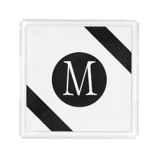 Modern, Simple & Stylish White & Black Monogram Acrylic Tray