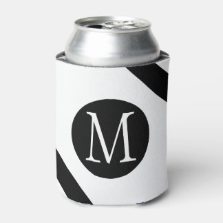 Modern, Simple & Stylish White & Black Monogram Can Cooler