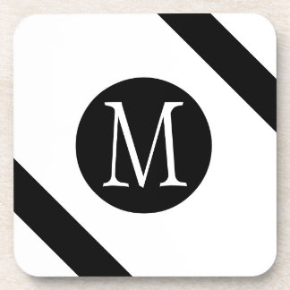 Modern, Simple & Stylish White & Black Monogram Coaster