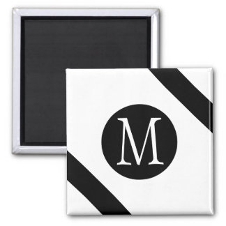 Modern, Simple & Stylish White & Black Monogram Magnet