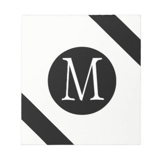 Modern, Simple & Stylish White & Black Monogram Notepad