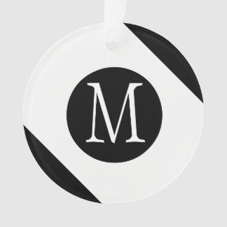 Modern, Simple & Stylish White & Black Monogram Ornament