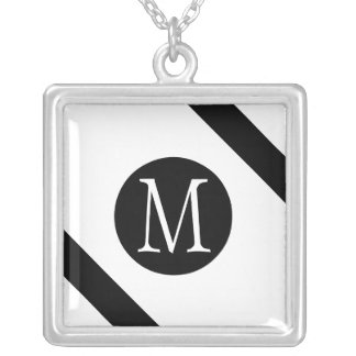 Modern, Simple & Stylish White & Black Monogram Silver Plated Necklace