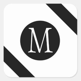 Modern, Simple & Stylish White & Black Monogram Square Sticker