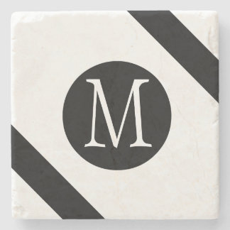 Modern, Simple & Stylish White & Black Monogram Stone Coaster