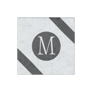 Modern, Simple & Stylish White & Black Monogram Stone Magnet