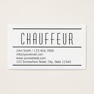 Modern Simple White Chauffeur Business Card