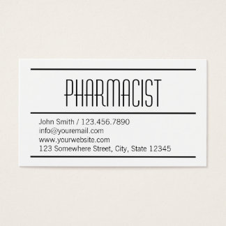 Modern Simple White Pharmacist Business Card