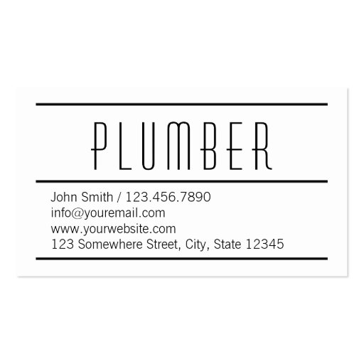 Modern Simple White Plumbing Business Card