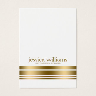 Modern Simple White With Decorative Gold Stripe Business Card