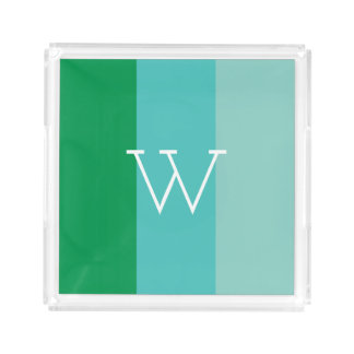 Modern Single Letter Monogram Preppy Striped Acrylic Tray