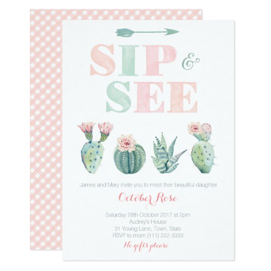 Modern Sip and See Watercolor Cactus Cards