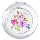 Modern Sketch Floral Bouquet Botanical Art Vanity Mirror