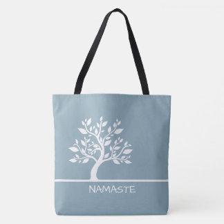 Modern Sky Blue Elegant Classy Tree YOGA Tote Bags