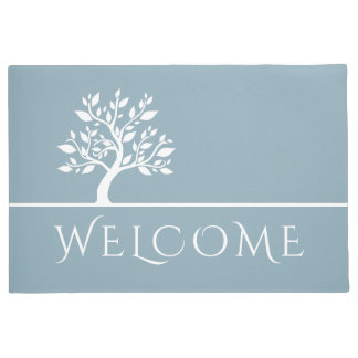 Modern Sky Blue Elegant Classy Tree YOGA Welcome Doormat