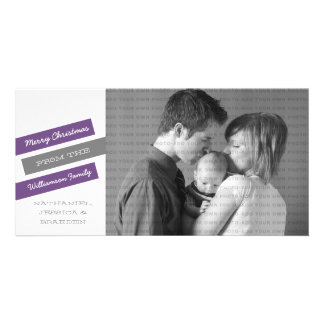 Modern Slant Holiday Photo Card (Purple/Gray)
