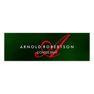Modern Slim Monogram Green Trendy Business Card