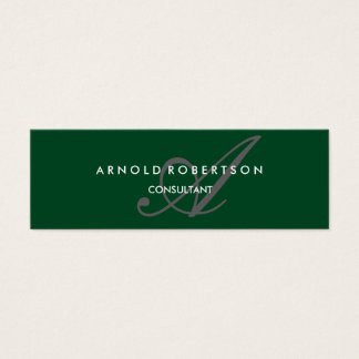 Modern Slim Monogram Trendy Forest Green Grey Mini Business Card