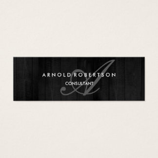 Modern Slim Monogram Trendy Grey Wood Background Mini Business Card