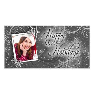 Modern Snow Black & White Happy Holiday Photo Card