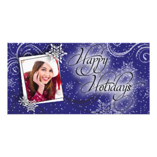 Modern Snow Blue Glow Happy Holiday Photo Card