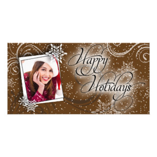 Modern Snow Brown Glow Happy Holiday Photo Card