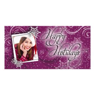 Modern Snow Burgundy Glow Happy Holiday Photo Card