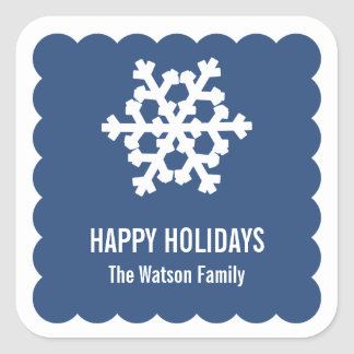 Modern snow flake blue scallop christmas holiday square sticker