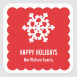 Modern snow flake red scallop christmas holiday stickers