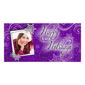 Modern Snow Purple Glow Happy Holiday Photo Card