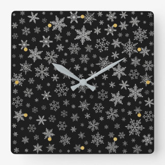 Modern Snowflake 2 -Black & Silver Grey- & gold Square Wall Clock