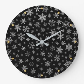Modern Snowflake 2 -Black & Silver Grey- Large Clock