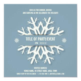 Modern Snowflake Christmas Party Invitation Blue