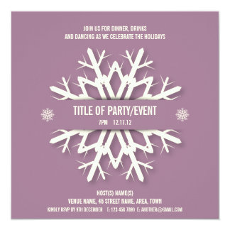 Modern Snowflake Christmas Party Invitation Mauve