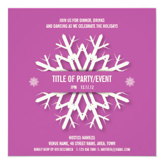 Modern Snowflake Christmas Party Invitation Pink