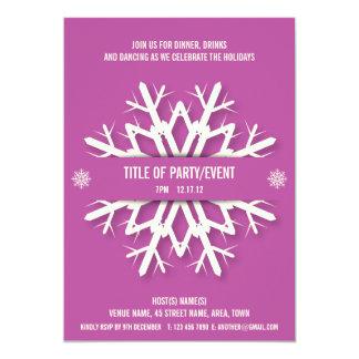 Modern Snowflake Christmas Party Invitation Pink