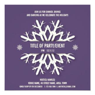 Modern Snowflake Christmas Party Invitation Purple