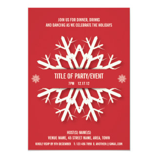 Modern Snowflake Christmas Party Invitation Red
