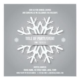 Modern Snowflake Christmas Party Invitation Silver