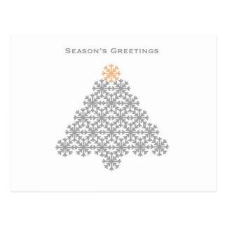 Modern Snowflake Christmas Tree- Season's Greeting Postcard