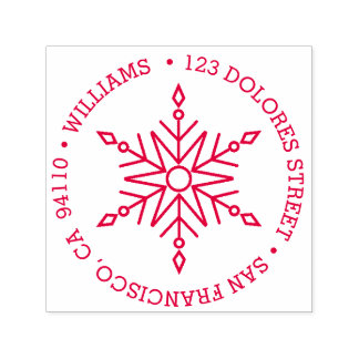 Modern Snowflake Circular Holiday | Return Address Self-inking Stamp
