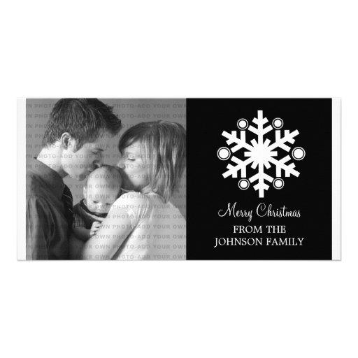 Modern Snowflake Holiday Photo Card, Black