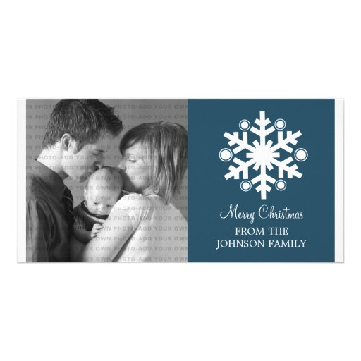 Modern Snowflake Holiday Photo Card, Blue