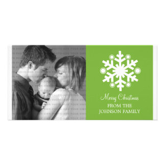 Modern Snowflake Holiday Photo Card, Green Photo Card Template