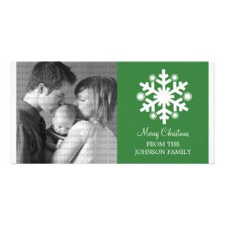 Modern Snowflake Holiday Photo Card, Green