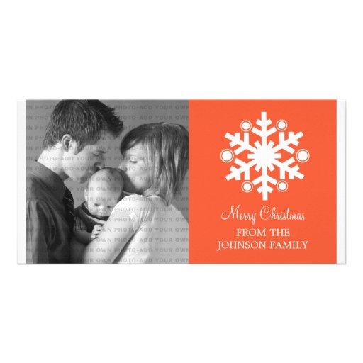 Modern Snowflake Holiday Photo Card, Orange