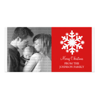 Modern Snowflake Holiday Photo Card, Red